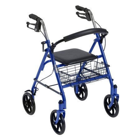 Drive Medical Four Wheel Rollator Rolling Walker with Fold Up Removable Back Support, Blue ()