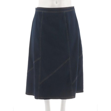Denim & Co Stretch Denim Midi Skirt Panels A272142 Paneled Denim Skirt