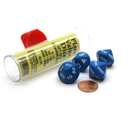 Set of 4 Place Value D10 Dice, 0 to 9000 - Blue with White Numbers ()