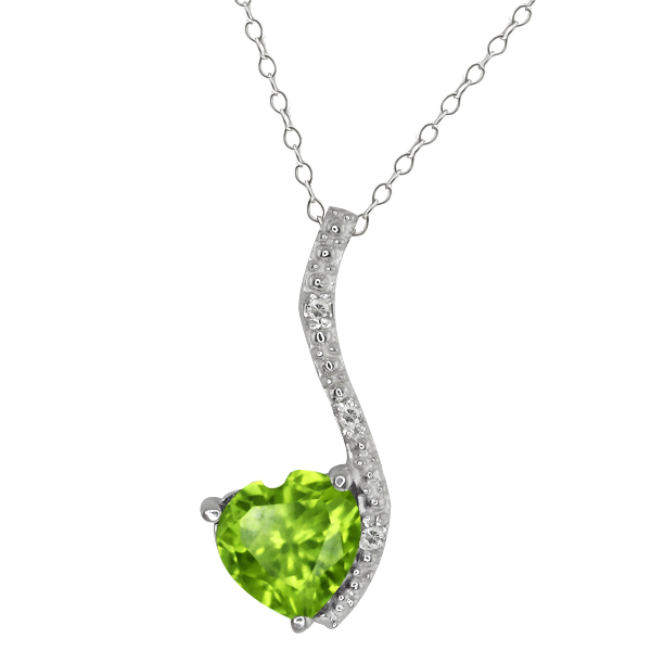 0.85 Ct Heart Shape Green Peridot and White Topaz 14k White Gold Pendant
