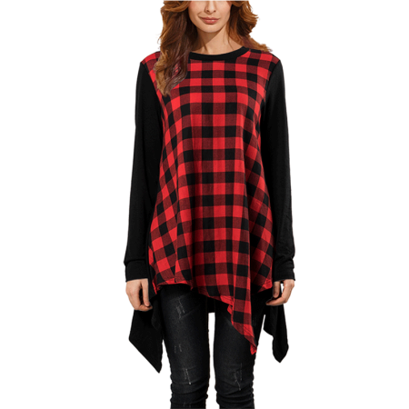 Leisure Zipper Long Sleeve (Valentine's Day Gift For Women, Women's Tunic Tops Long Sleeve Swing Hem Blouses for women, Leisure Round Neck Shirts for women, Red Plaid Pattern Long Sweartshirts for Women, S-2XL)