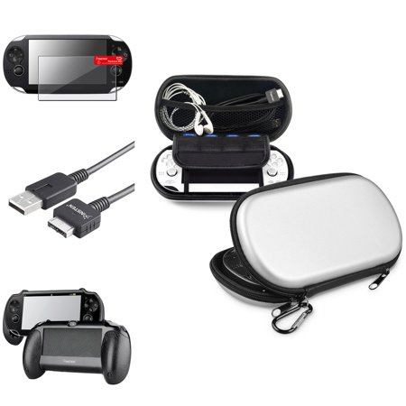 Insten Hand Grip + Silver EVA Storage Case + Screen Protector + USB Cable For Sony PS Vita
