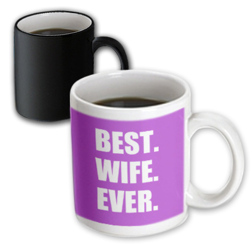 3dRose Purple Best Wife Ever - bold anniversary valentines day gift for her, Magic Transforming Mug, 11oz