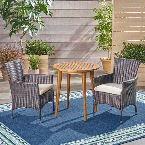 Bungalow Rose Bolebroke Outdoor 3 Piece Bistro Set with Cushions
