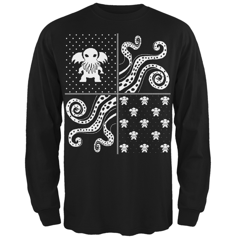 Cthulhu Lovecraft Dimensions Ugly Christmas Sweater Black Long ...