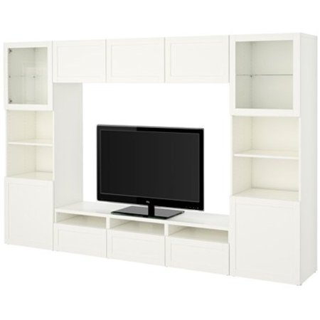 Ikea Tv Storage Combination Glass Push Open Doors  Hanviken  Sindvik White Clear Glass 14202 231129 1014