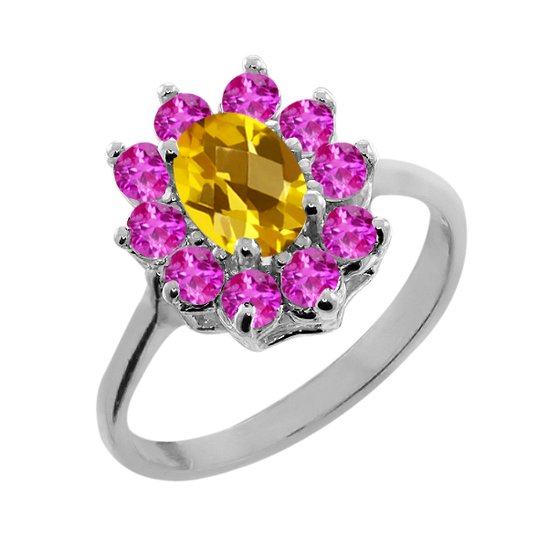 1.20 Ct Oval Checkerboard Yellow Citrine Pink Sapphire Sterling Silver Ring