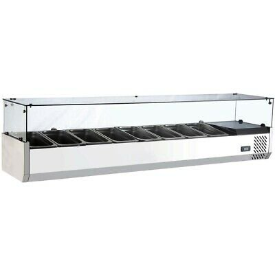 Marchia MTR8, 70″ Refrigerated Countertop Salad Bar – Topping Rail 2 Door Refrigerated Salad Top