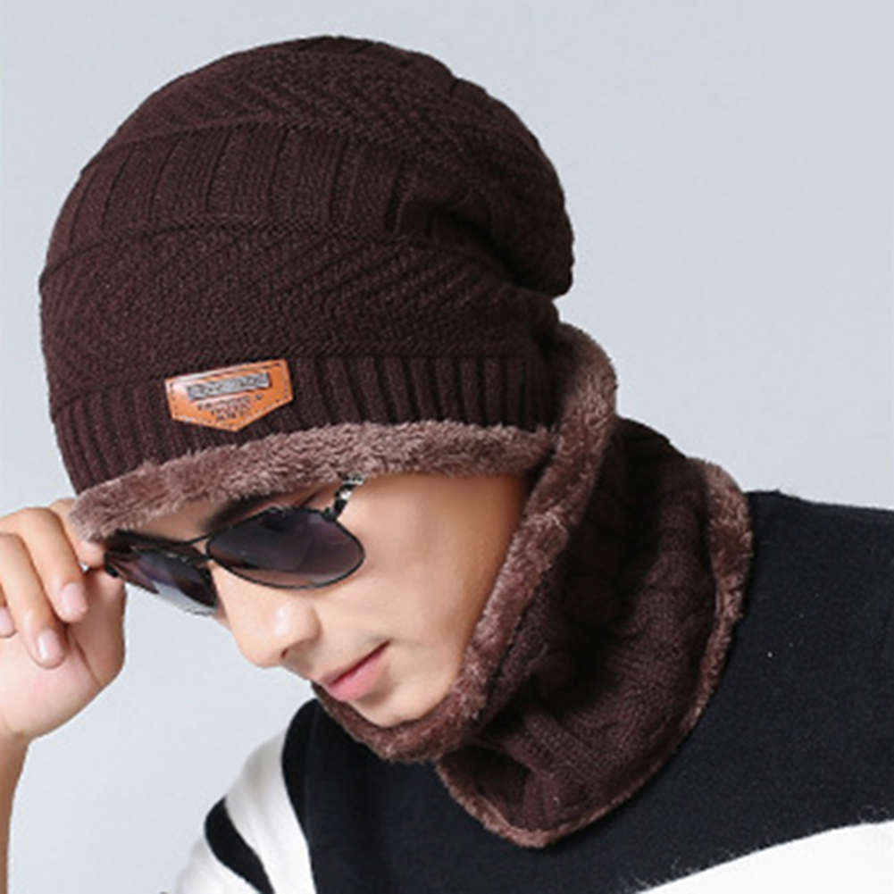 88fc14e5406787 Girl12Queen - Fashion Beanie Men Winter Warm Faux Fur Lined Baggy Hat  Neckerchief Scarf Cap - Walmart.com