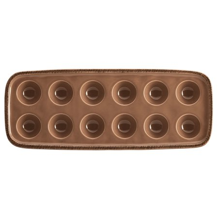 Cucina Dinnerware 12-Cup Stoneware Egg Tray, Mushroom Brown, This egg plate blends relaxed Old World charm and modern functionality with subtle.., By Rachael Ray