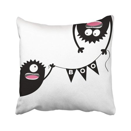 BPBOP Happy Halloween Two Screaming Monster Head Silhouette Bunting Flags Pack Boo Letters Pillowcase Throw Pillow Cover 18x18 inches - Halloween Office Boo Letter