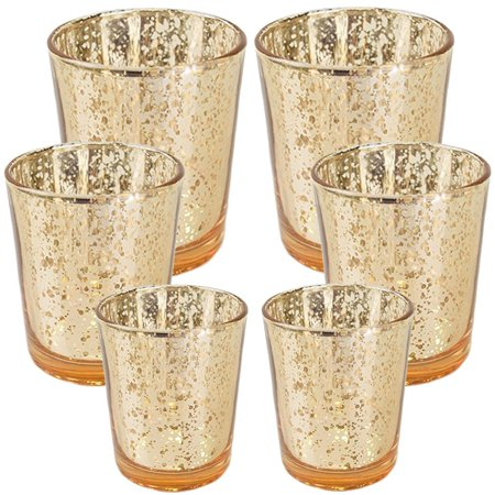 Just Artifacts 6pc Assorted (Size) Gold Mercury Glass Votive ...
