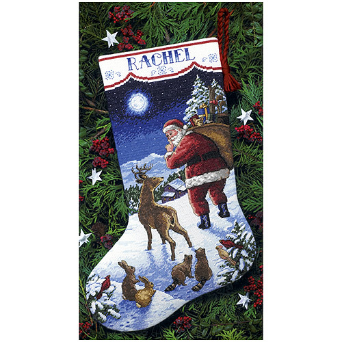 Santa's Arrival Stocking Counted Cross-Stitch Kit, 16""