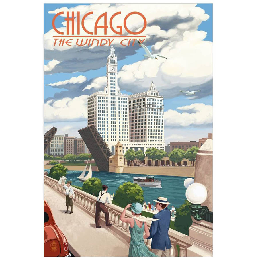 Chicago, Illinois - River View: Retro Travel Poster by Eazl Cling