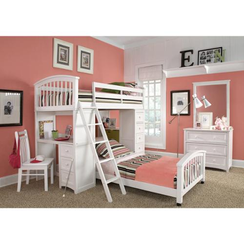 NE Kids School House Student Loft White and Lower Twin Bed