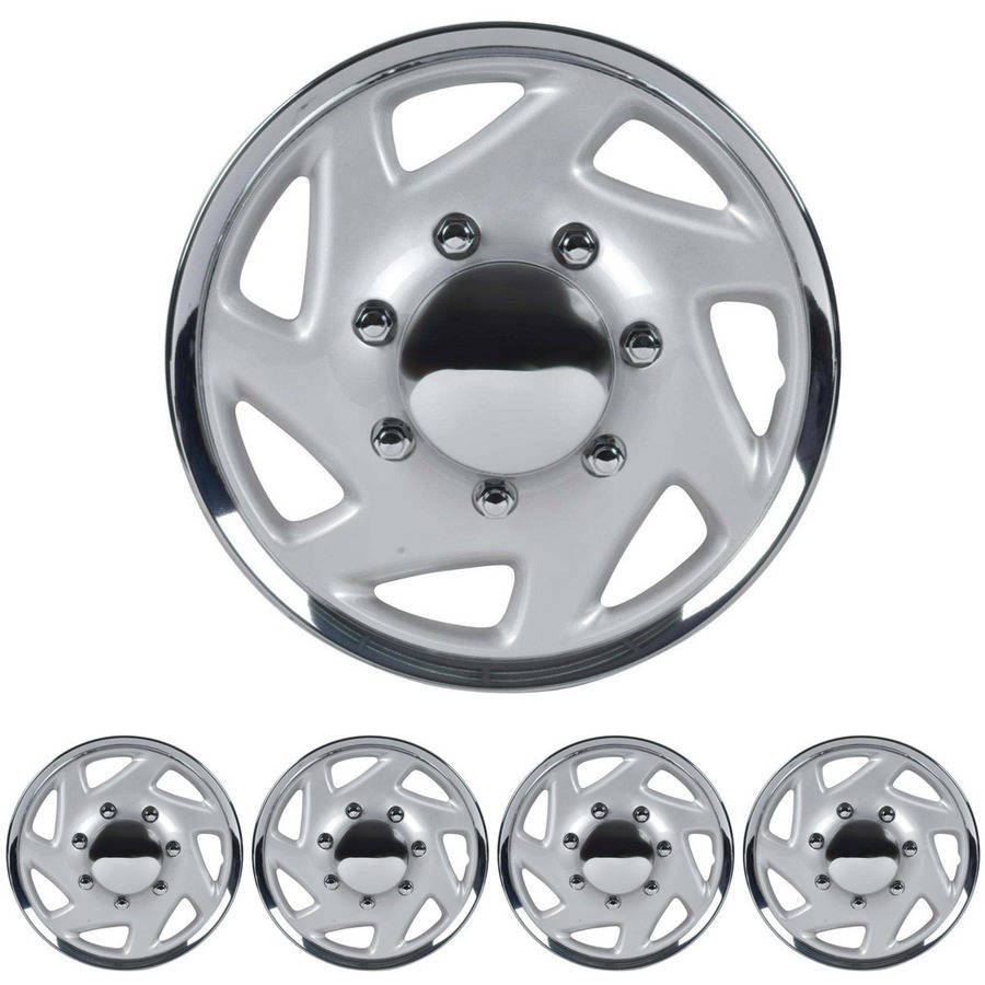 "BDK Ford E-Series Style Hubcaps Wheel Cover, 16"" Chrome Replica Cover, 4 Pieces"