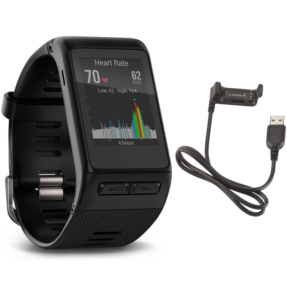 Garmin vivoactive HR GPS Smartwatch - X-Large Fit (Black) USB Charging Cable Bundle includes vivoactive HR Smartwatch and USB Charging Cable