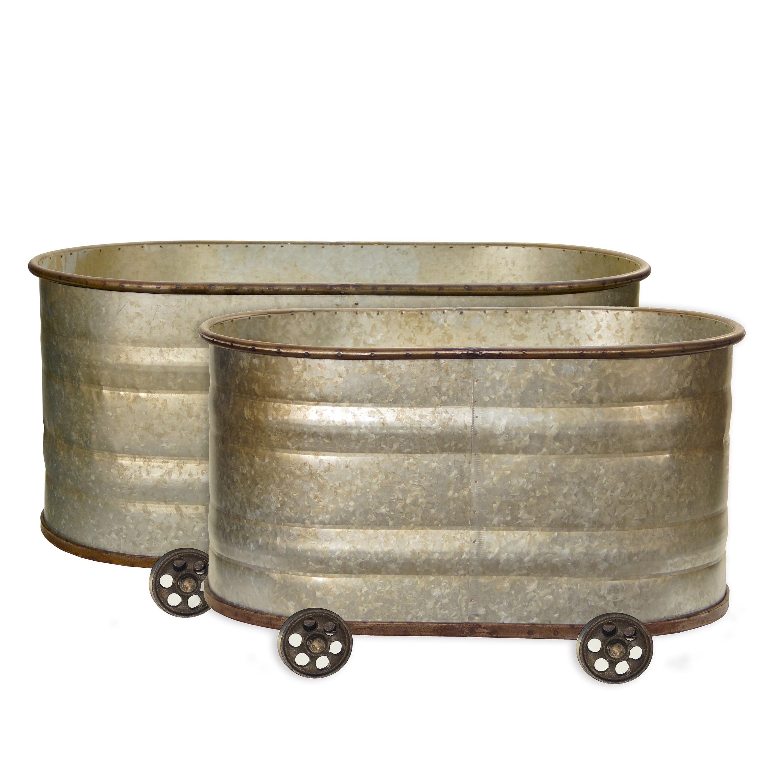 Vip International Metal Watering Troughs (Set of 2)