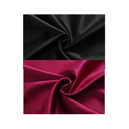 Women Slim Fit Spagetti Straps Satin Cami Tank Tops 2 Pcs Black+Burgundy XXL - image 5 of 7