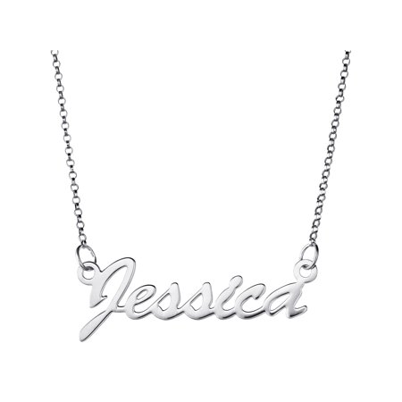 Personalized Premium Sterling Silver Hollywood Script Name Necklace, 18