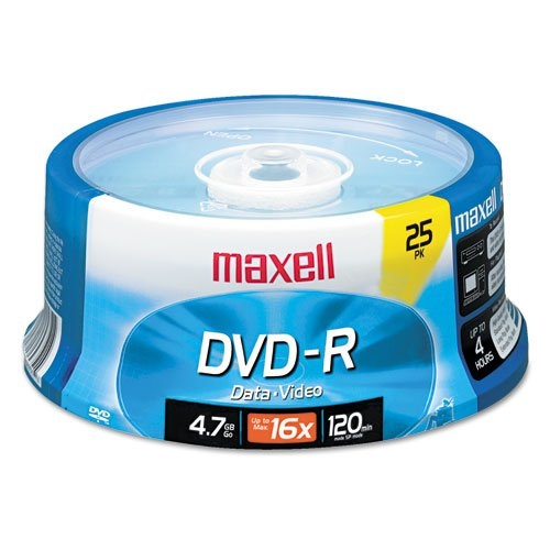 Maxell DVD-R Discs, 4.7GB, 16x, Spindle, Gold, 25/Pack MAX-638010