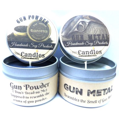Combo - 4oz Gun Powder and Gun Metal Soy Candle Tins - Great Gift for Men