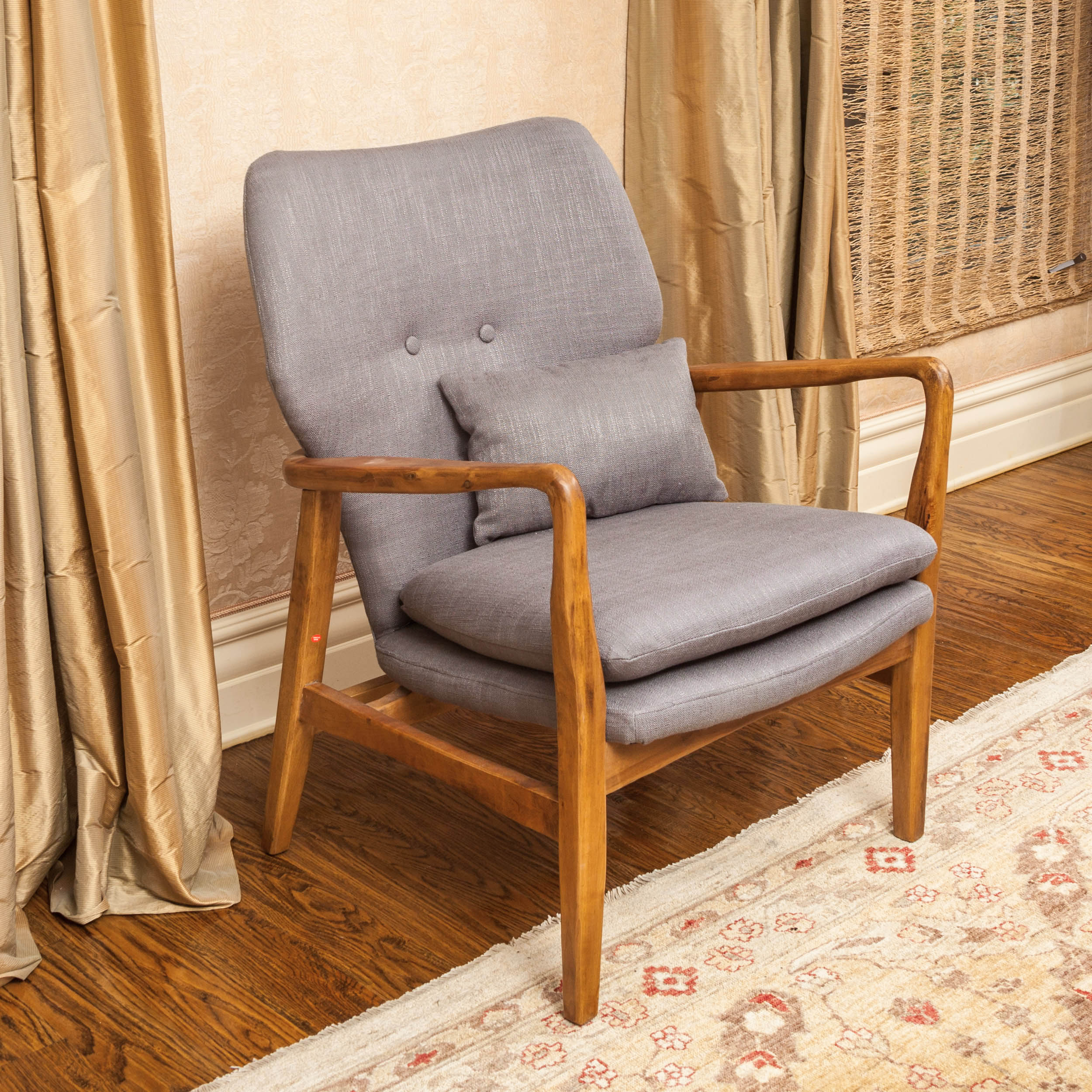 Noble House Haden Wood Frame Club Chair Color Grey