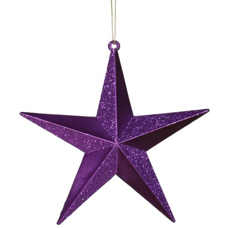 Purple Passion Matte; Glitter Shatterproof Star Christmas Ornament 6