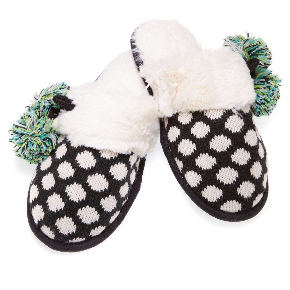 Foot Petals Fair Isle Knit Pom Pom Slipper 573-149