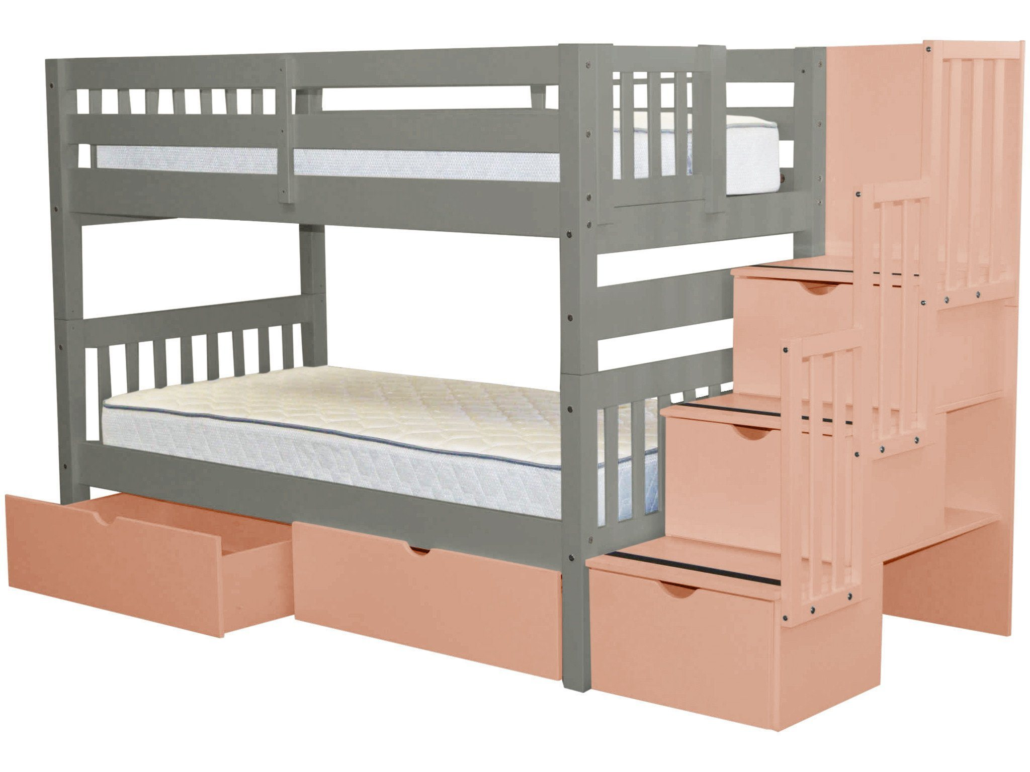 Bedz King Stairway Bunk Beds Twin Over Twin With 3 Pink