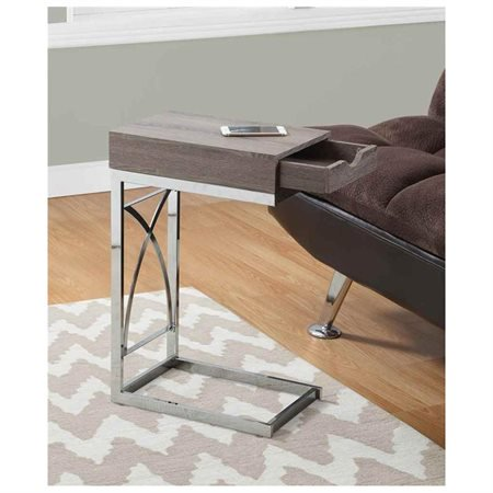 Monarch Accent Table Chrome Metal / Dark Taupe With A Drawer ()