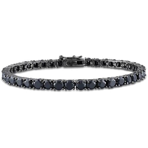 "14-1/4 Carat T.G.W. Black Spinel Sterling Silver Tennis Bracelet, 7"""