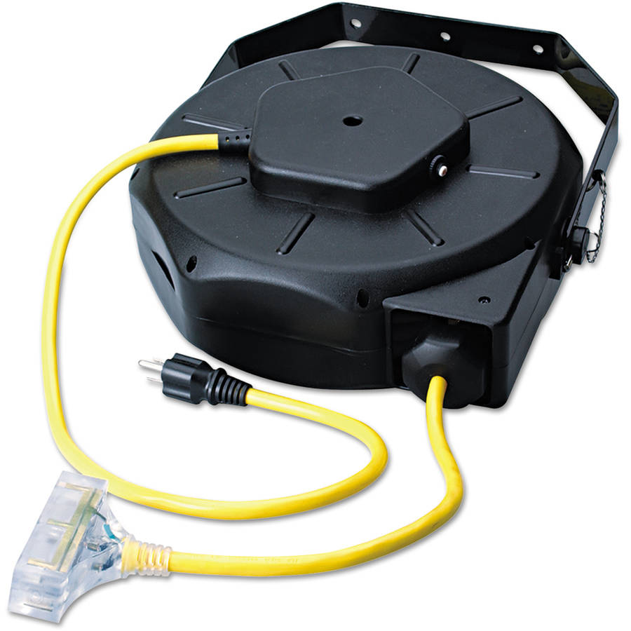 CCI Retractable Industrial Extension Cord Reel, 50ft, Yellow/Black
