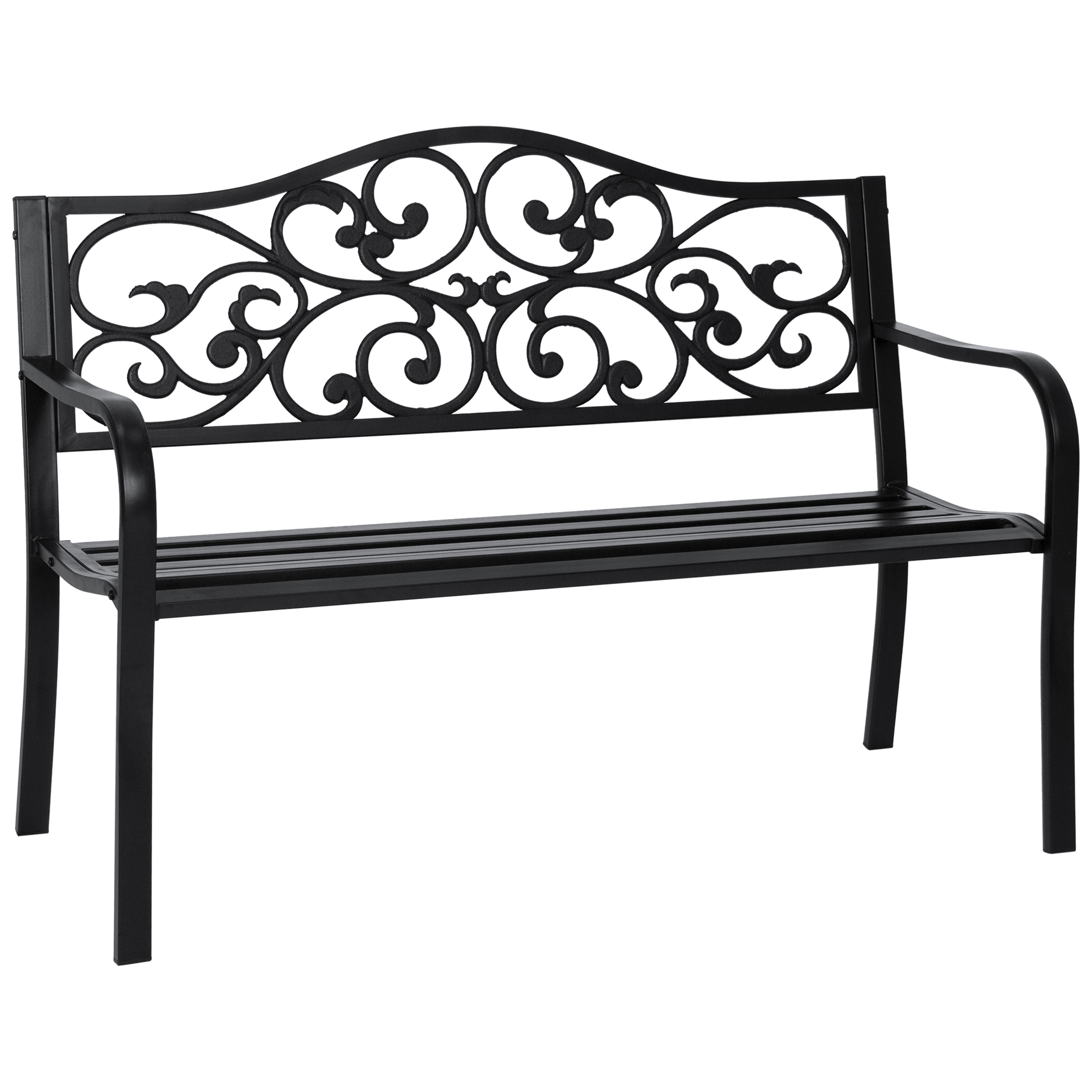 Best Choice Products Classic Metal Patio Garden Bench w/ Decorative Floral Scroll Design - Black