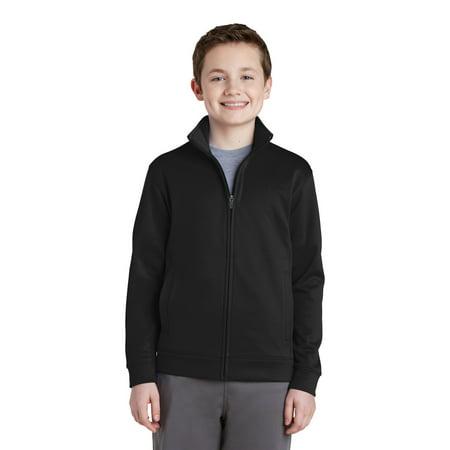 - Sport-Tek YST241 Youth Sport-Wick Fleece Full-Zip Jacket, Black, XS