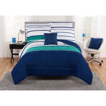 Mainstays Nautical Ombre Stripe Bed in a Bag Bedding Set, Multiple Sizes