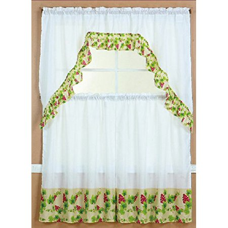 Grapes Window (3 Piece Kitchen Curtain Set: 2 Tiers and 1 Valance)