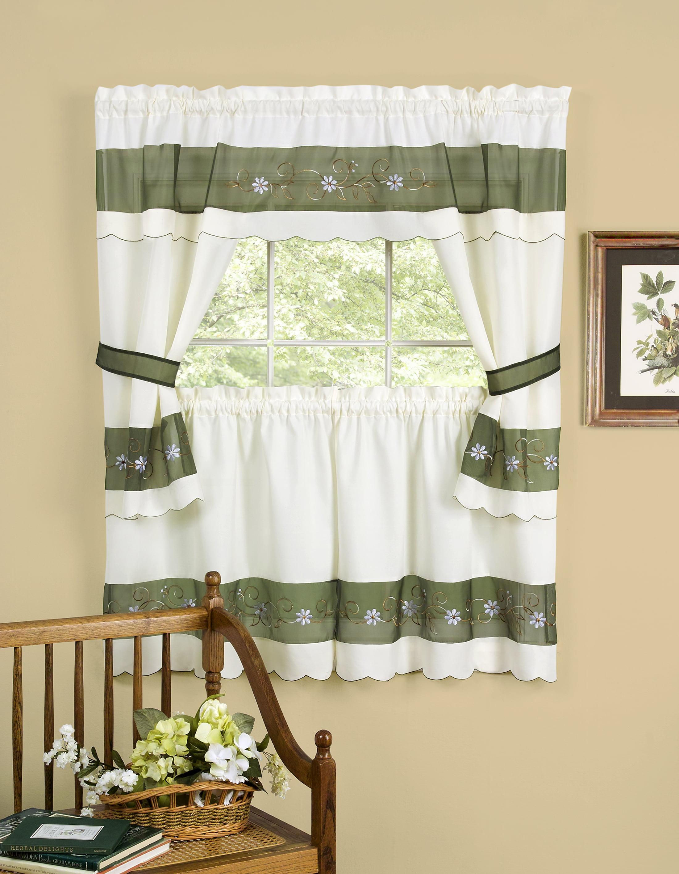 Tiers Tiebacks Apple Vines 5PC Window Kitchen Curtain Cottage Set Valance