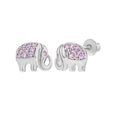 Rhodium Plated Pink CZ Good Luck Elephant Screw Back Earrings for Kids Girls