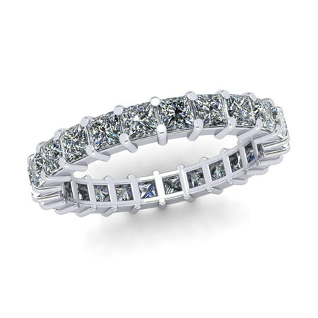 - Natural 2.70Ct Princess Cut Diamond Shared Prong Women's Anniversary Wedding Eternity Band Ring Solid 18k White Gold F VS2
