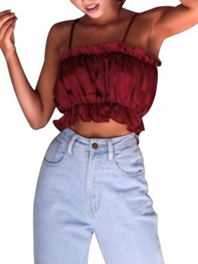 d829d33831c42 Product Image Crop Tops for Women Bardot Elastic Frill Casual Cami Tank  Tops Sleeveless Halter Backless Shirt Strappy
