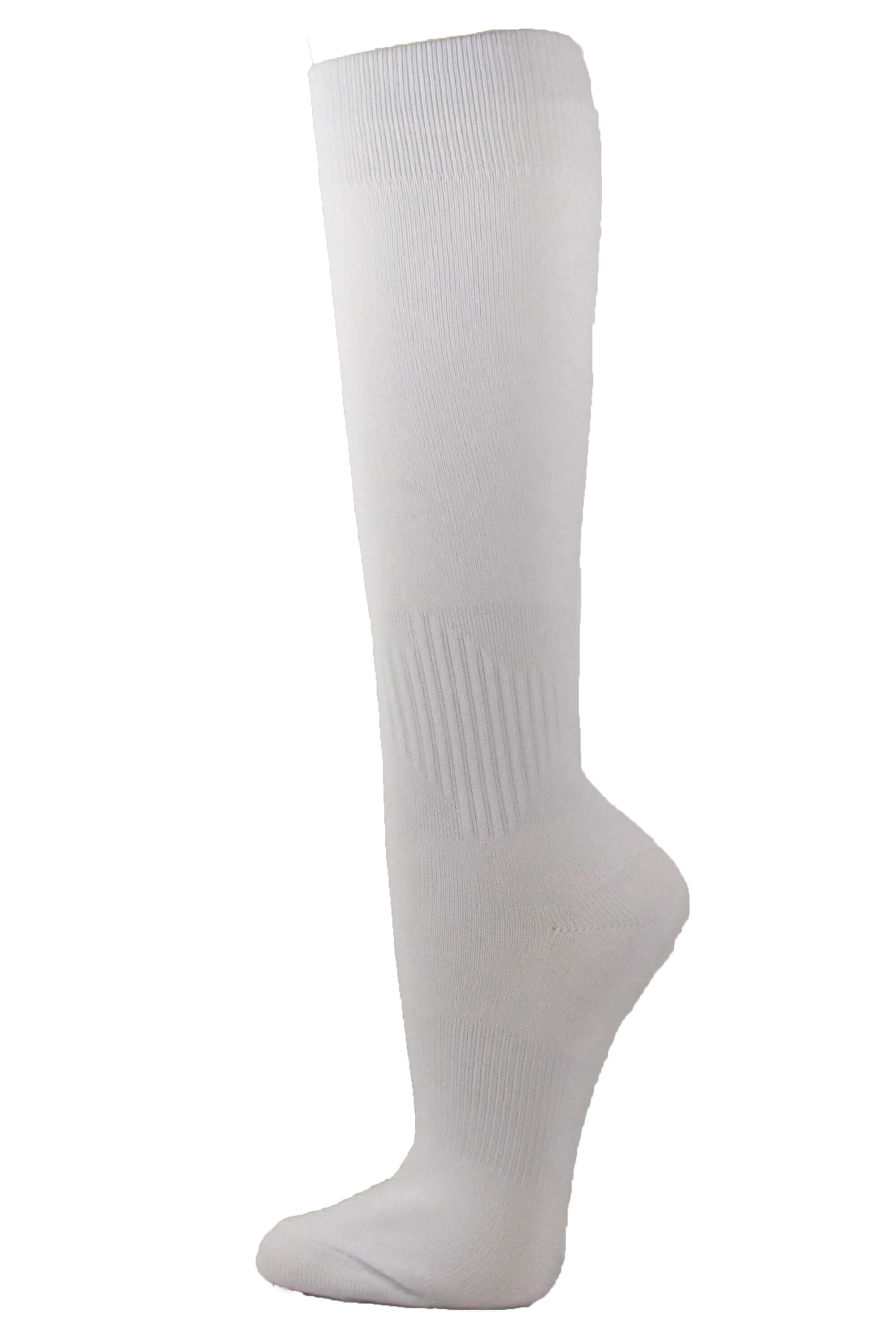 Couver Unisex Polyester Soccer Knee High Sports Athletic Socks, White Medium