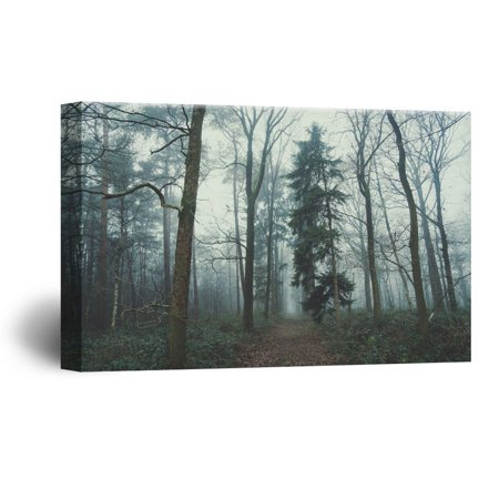 - wall26 Canvas Wall Art - Quiet Path in The Forest - Giclee Print Gallery Wrap Modern Home Decor Ready to Hang - 16