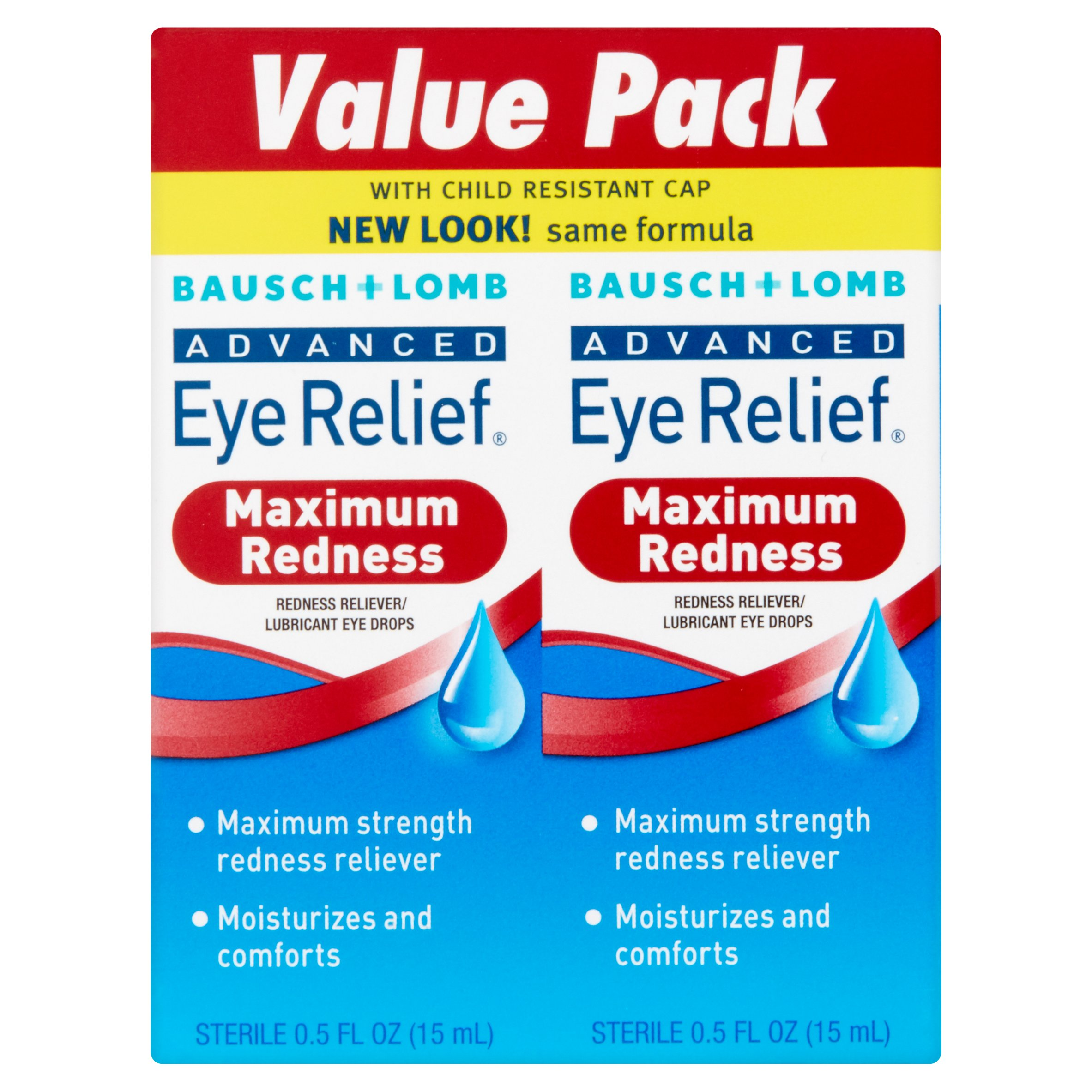 Bausch & Lomb Advanced Eye Relief Redness Eye Drops, 0.50 fl oz, twin pack
