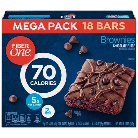 Fiber One 70 Calorie Chocolate Fudge Brownie Mega Pack 18  Bars 16 (Heart Candy Bars)