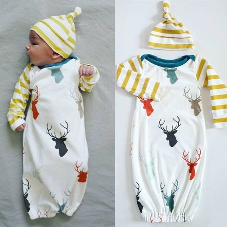 Cute Newborn Baby Girl Boy Deer Pajamas Sleepwear Set Sleepsack Outfit - Swaddle Outfit