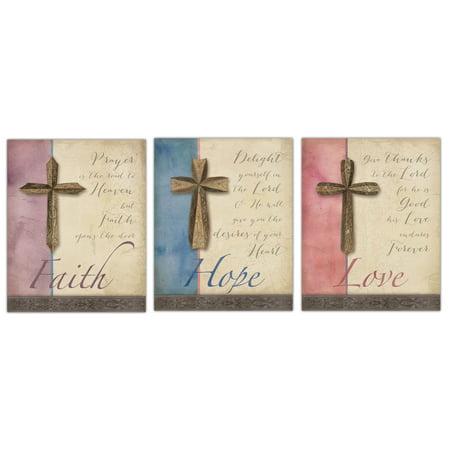 Classic Cross Love, Faith, Hope Religious Quote Set By Elyse DeNiege; Spiritual Decor; Three 8x10 Paper Poster Prints