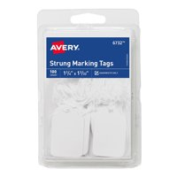 """Avery(R) White Marking Tags 6732, Strung, 1-3/4"""" x 1-3/32"""", Pack of 100"""