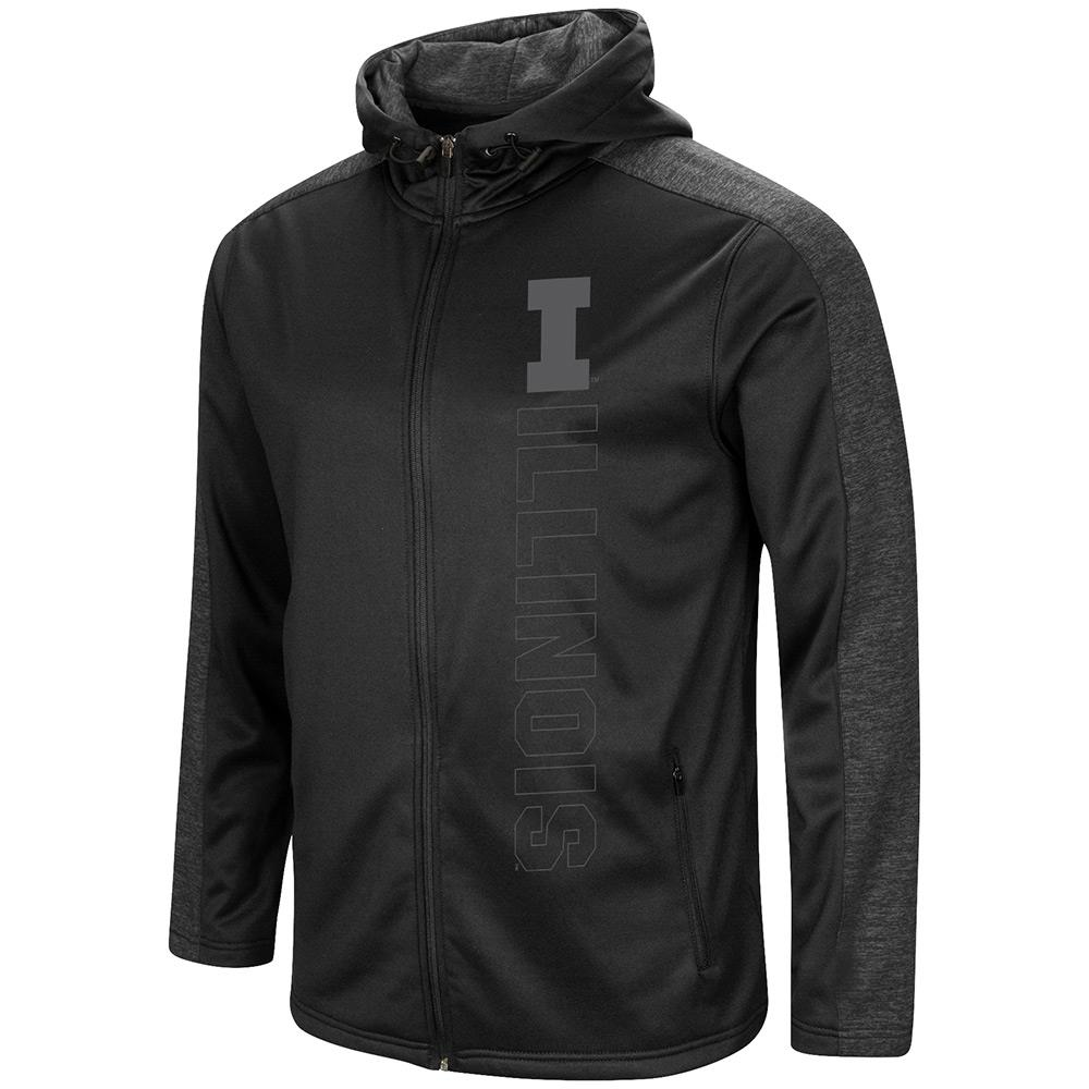 Mens Illinois Fighting Illini Blackout Full Zip Hoodie - S