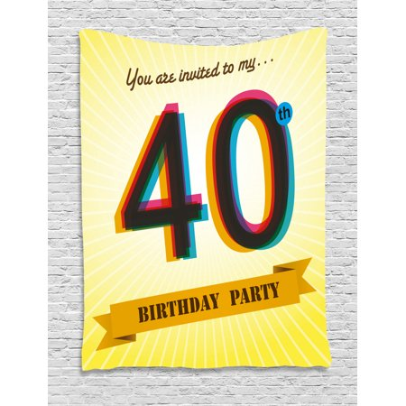 40th Birthday Decorations Tapestry, Vintage Graphic Banner Party Invitation Theme Optical Striped, Wall Hanging for Bedroom Living Room Dorm Decor, 40W X 60L Inches, Multicolor, by Ambesonne Birthday Invitations Decorations